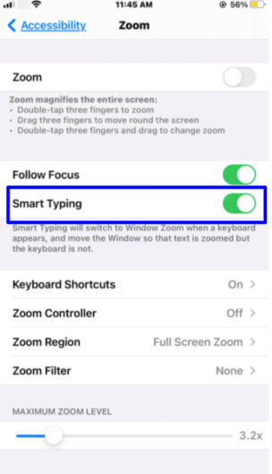 zoom accessibility iPhone - smart typing