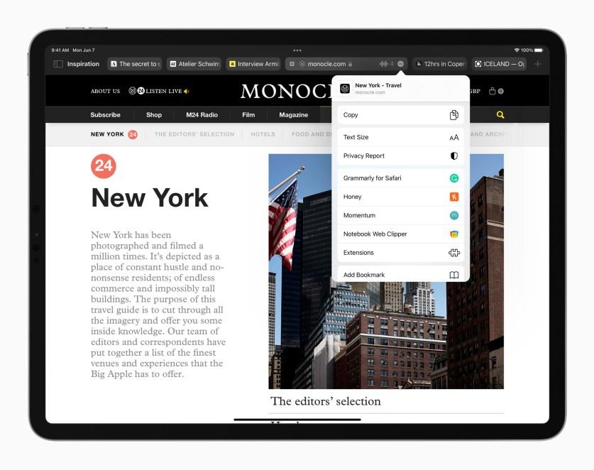 Apple iPadPro iPadOS15 safari safariextensions 060721