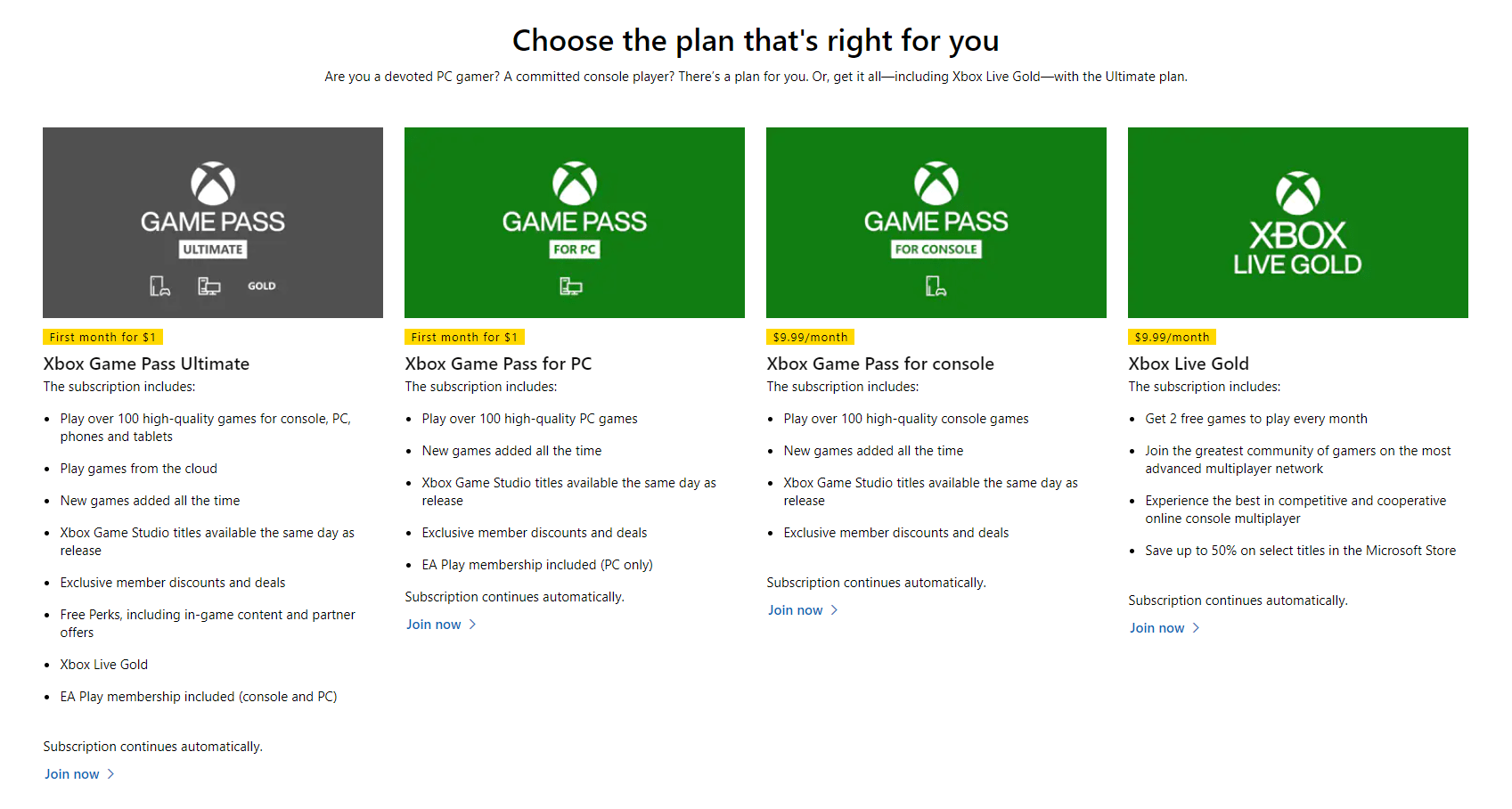 Xbox Game Pass Comparison