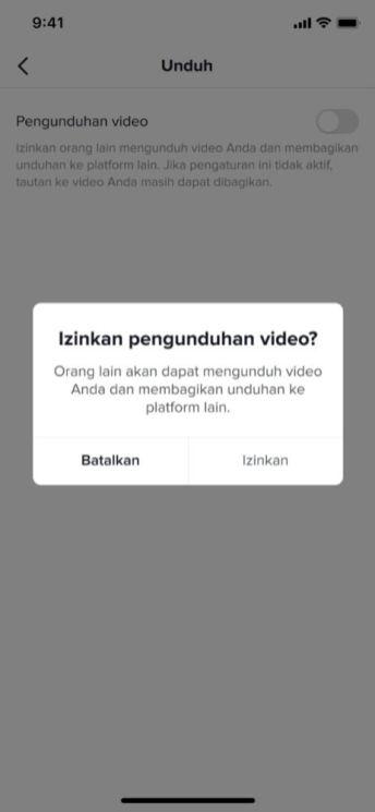 Notifikasi Pengizinan Pengunduhan Video