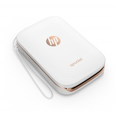 HP Sprocket Photo Printer (White), Right facing, no output, with wriststrap