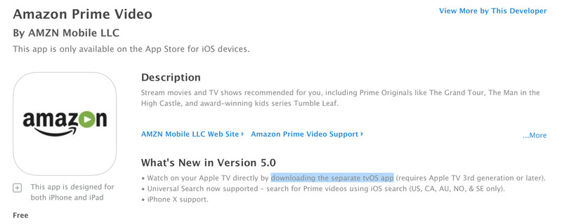 Amazon Prime Available on Apple TV