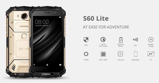 Doogee S60 Lite resmi Dirilis: Rugged IP68 dengan RAM 4GB dan NFC 5