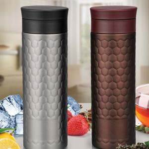 Vacuumized Tea/ Fruit Infuser Ss Sipper In Honeycomb Design (550 Ml)