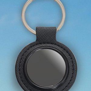 Round Metal Keychain With Pu Base (Gunmetal Finish)