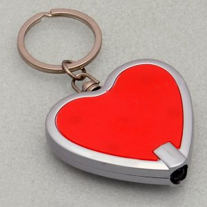Heart Shape Keychain With Torch (Flat Design)