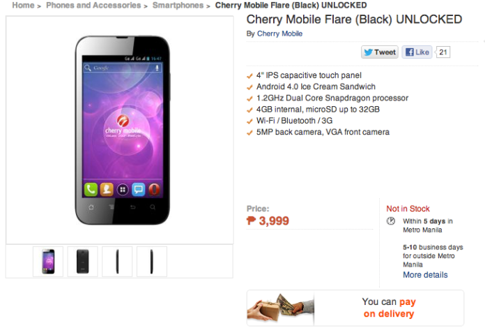 Cherry Mobile Flare Availability, Cherry Mobile Flare