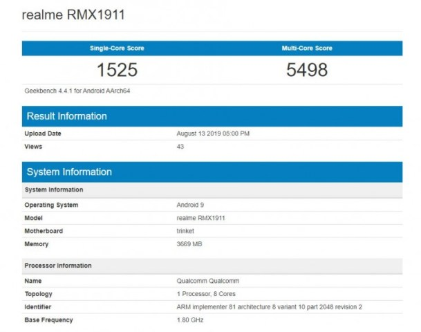 Realme 5 Geekbench, Realme 5 spotted in Geekbench with Snapdragon 665 and 4GB RAM, Gadget Pilipinas, Gadget Pilipinas