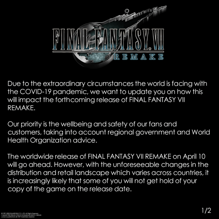 final fantasy 7 remake delay, Official announcement from Square Enix places Final Fantasy 7 Remake physical copies in question due to COVID-19, Gadget Pilipinas, Gadget Pilipinas