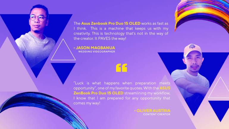ASUS ZenBook Pro Duo 15 OLED artist quotes