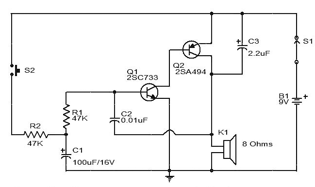 siren circuit diagram using two transistors  gadgetronicx