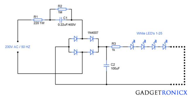 230v ac mains operated led light circuit diagram  gadgetronicx