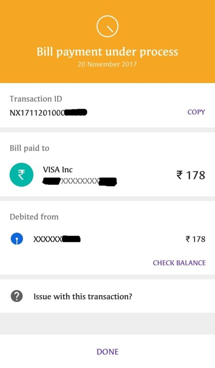 Bill Payment Under Process on PhonePe