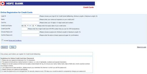 HDFC Credit Card Netbanking Registration