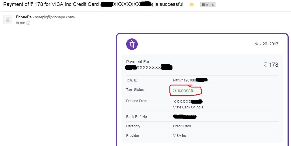 PhonePe Confirmation Email for A Successful Credit Card Payment