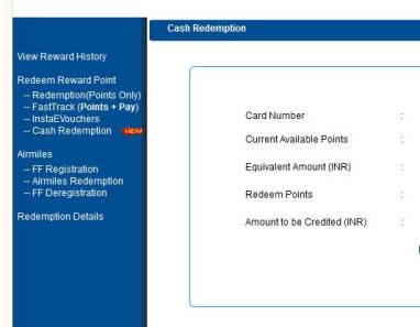 Select Cash Redemption of Your HDFC Credit Card Reward Points