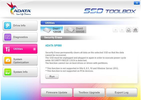 Adata SSD Toolbox Utilities