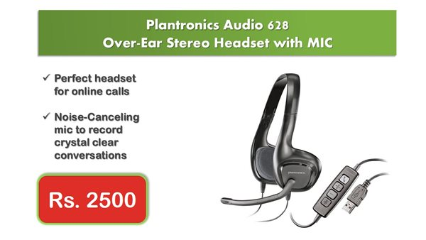 Plantronics Audio 628 Stereo Headset with Noise Cancellation MIC