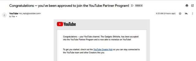Approved to join the YouTube Partner Program