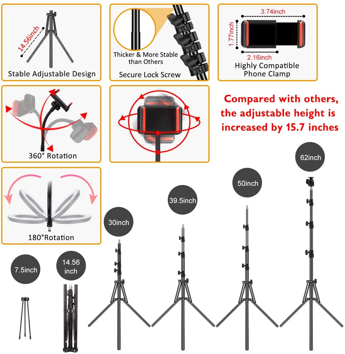 Ring Light with Tripod Stand and Phone Holder