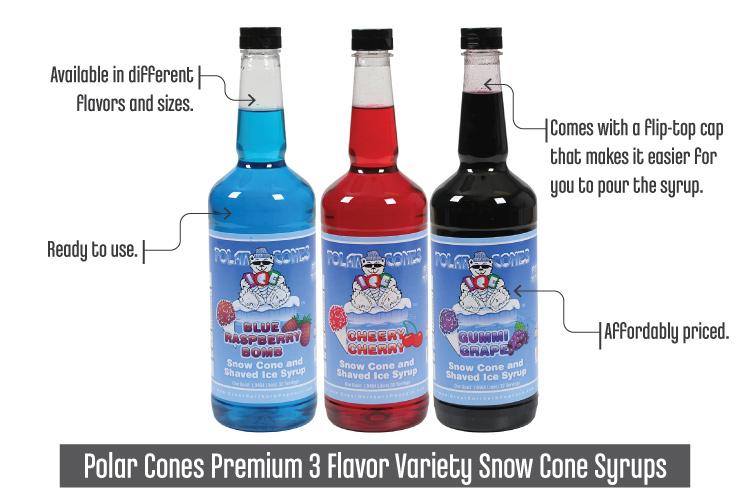 Best Syrup For Snow Cones_PolarConesPremium3FlavorVarietySnowConeSyrups