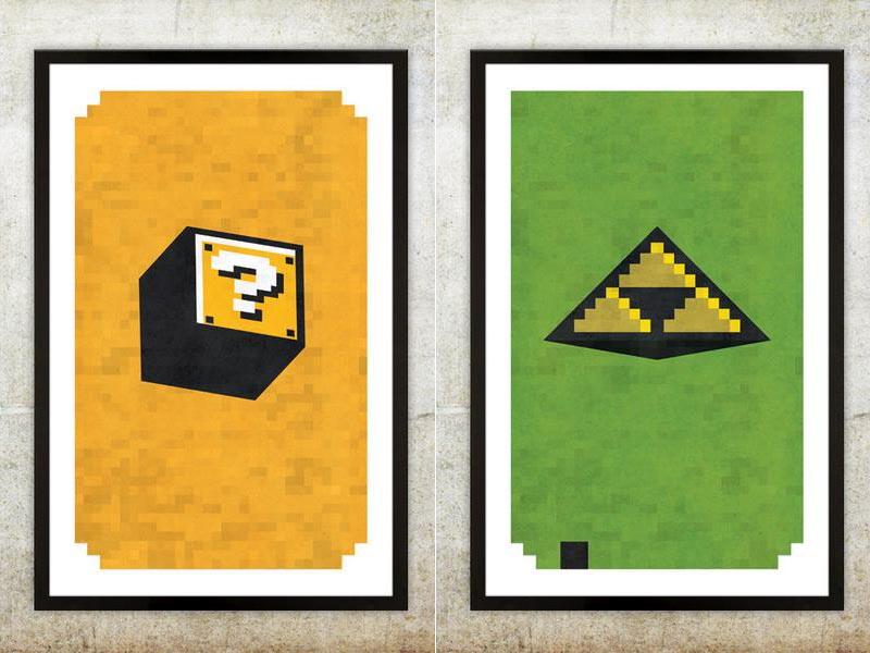 Retro NES Video Game Inspired Poster Set Gadgetsin