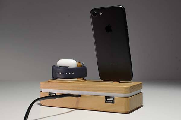 Dockit Handmade Wooden Apple Dock For IPhone AirPods And