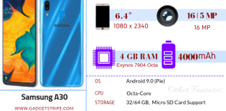 Samsung Galaxy A30 specification