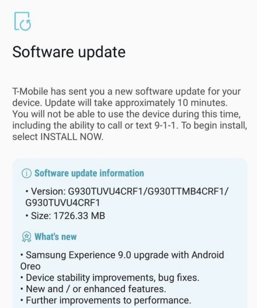 Download Stock Oreo G935TUVU4CRF1 for T-Mobile Galaxy S7