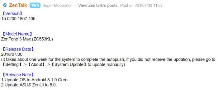 Official Oreo released for Asus ZenFone 3 Max ZC553KL (V15