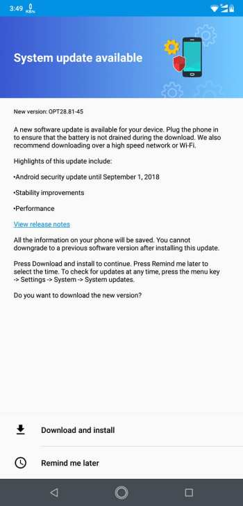 September 2018 security patch for Motorola One Power - Build