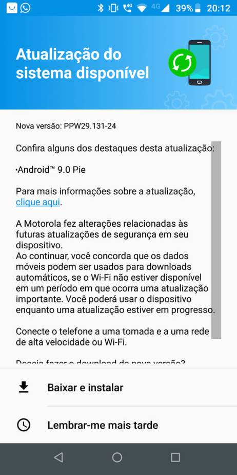 PPW29 131-24: Android Pie update for Moto Z3 Play is now