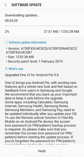 Download A730FXXU4CSCD: Android Pie OTA for Galaxy A8 Plus SM-A730F