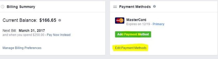 Facebook Payment Method