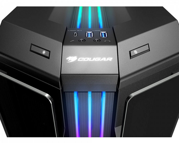The Cougar Gemini T Pro has ARGB lighting on the top as well as the front.