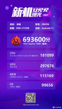 Mysterious Exynos 1080 processor is more powerful than Snapdragon 865+