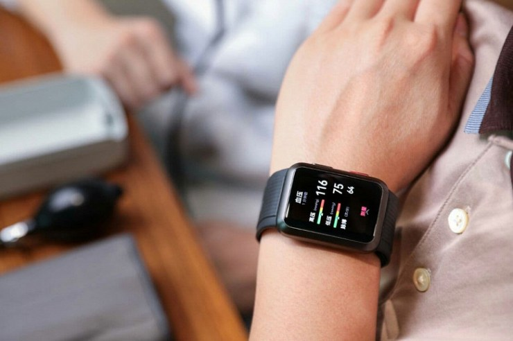 With rectangular screen and two keys.  New Huawei smart watch with blood pressure monitoring showed on renders