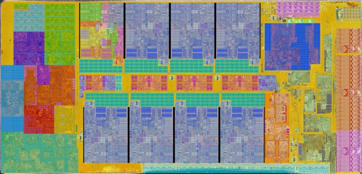 Crystal of a brand new Intel Rocket Lake processor under a microscope