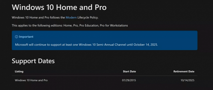 Microsoft has announced the date of the final abandonment of Windows 10