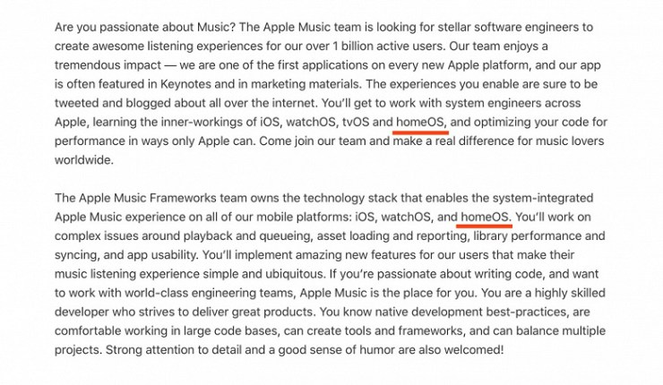 Apple is preparing a new operating system?  The company has lit homeOS in the text of a fresh vacancy