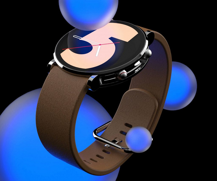 With round flat screen and slider key.  The designer showed the concept of smart watches Samsung Galaxy Watch5