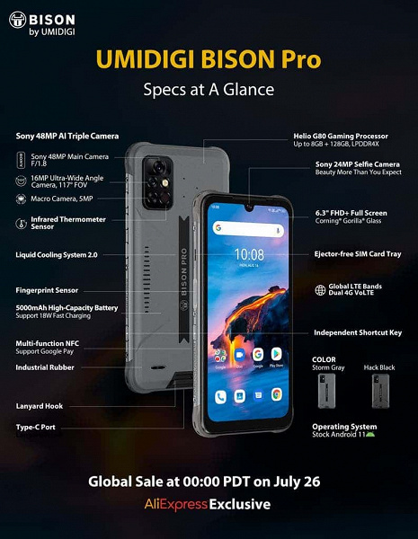 Unkillable smartphone with IP69K and Umidigi Bison Pro infrared thermometer for the first buyers will cost half the price