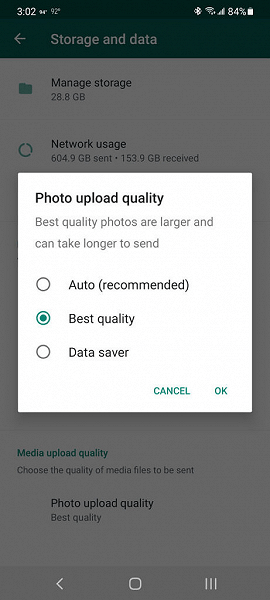 In WhatsApp, you can test sending photos without heavy compression