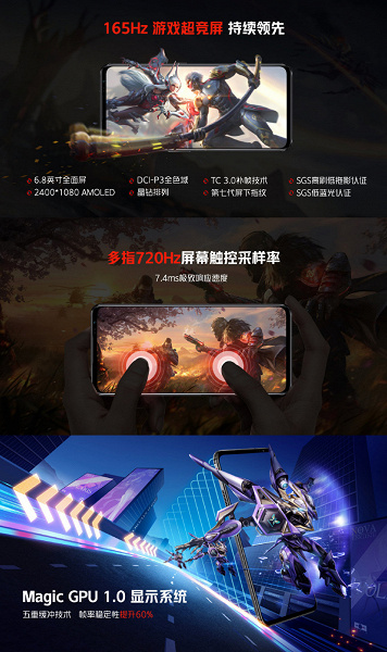 Snapdragon 888 Plus, AMOLED screen, 165 Hz, 18 GB RAM, 64 MP, 4500 mAh and 120 W.  Introduced RedMagic 6S Pro - One of the Most Powerful Gaming Smartphones