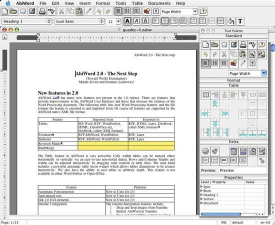 AbiWord - open source word processing program