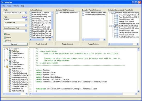 CodeNGen - n-tier code generation tool
