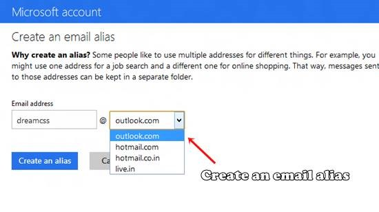 Create an email alias with outlook.com