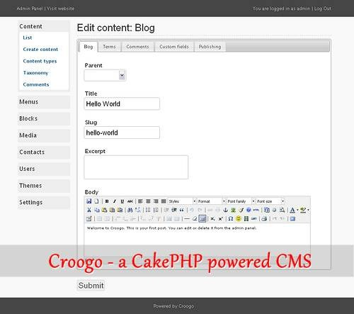 Croogo - a CakePHP powered CMS