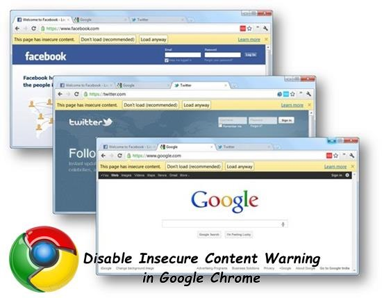 Disable Insecure Content Warning in Google Chrome