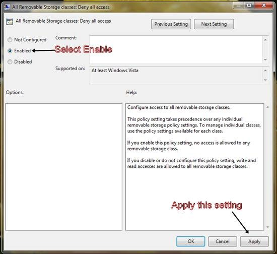 Disable access to removable storage devices in Windows 7-1